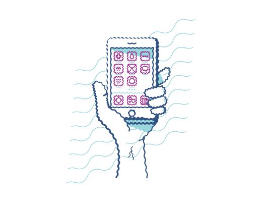 Exempel på hur det ser ut när man ser på en mobiltelefon med förvrängd syn när man har astigmatism.