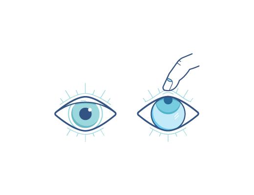 Öga som tittar upp medan ett finger drar ut linser