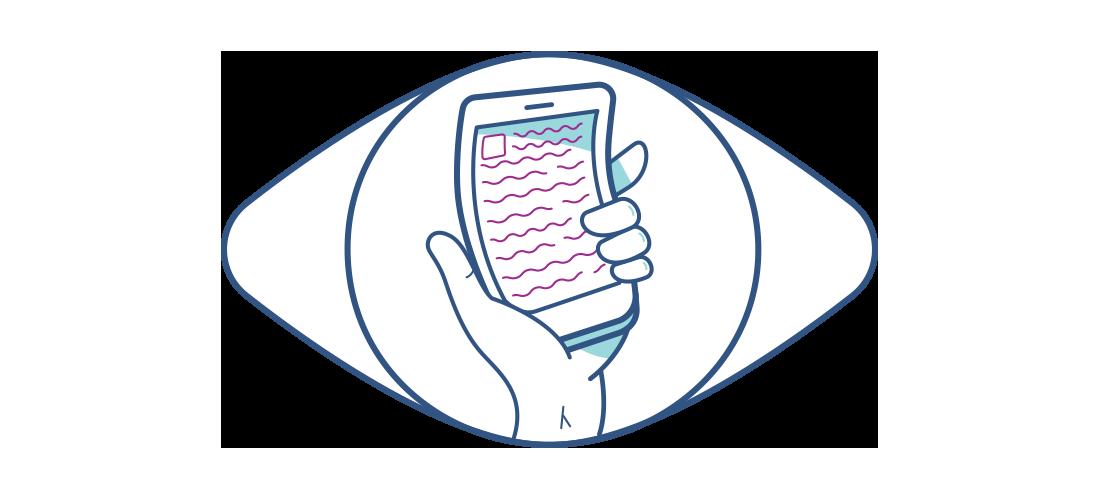Illustration av en förvrängd mobiltelefon sedd genom ett öga